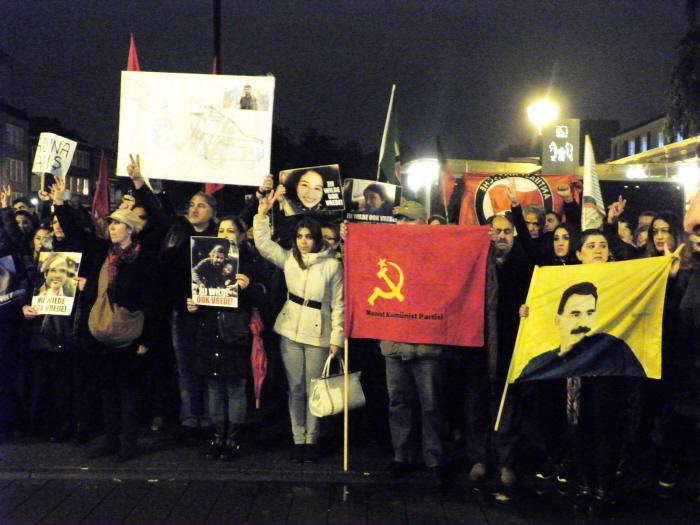 Korte manifestatie aan het einde van de demonstratie.