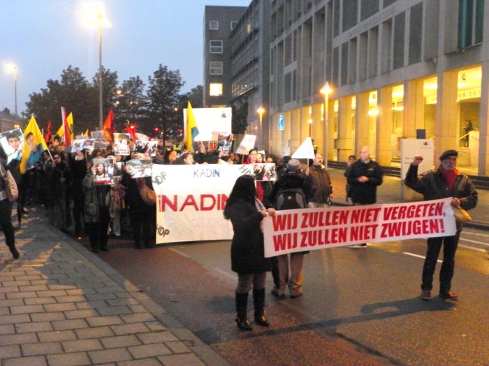 Vooraan de demonstratie.