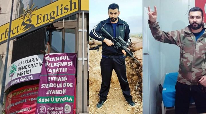Twee afbeeldingen van Onur Gencer. Op de één draagt hij een groot vuurwapen. Op de andere maakt hij het Grijze Wolven-gebaar.