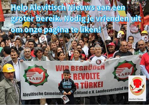 Banner van de pagina Alevitisch Nieuws met een oproep om je vrienden uit te nodigen de pagina te liken.