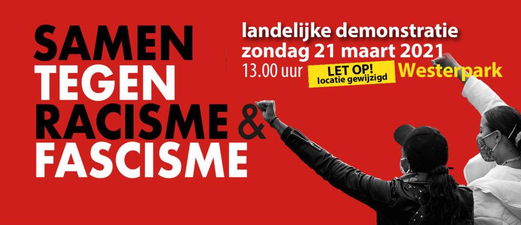 Banner van de demonstratie. Rode achtergrond met rechtsonder twee mensen die een vuist maken.