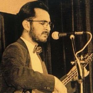 Vergeelde foto van Hasret Gültekin achter een microfoon.