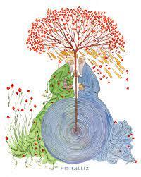Een tekening met daarop een boom met rode bloemen die wortelt in een blauwe cirkel. Tegen de boom zitten aan weerszijden twee figuren met lange grijze baarden geknield.