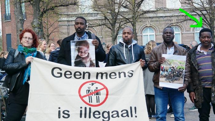 Op 11 april 2017 bij de demonstratie tegen de Soedanese dictator én het migratiebeleid van de EU.