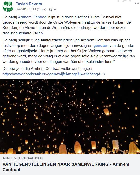 De enige partij die openlijk op ons reageerde was Arnhem Centraal. Ook zij bleven oog in oog met bewijzen van het tegendeel de mantra van de onschuld van het festival herhalen.