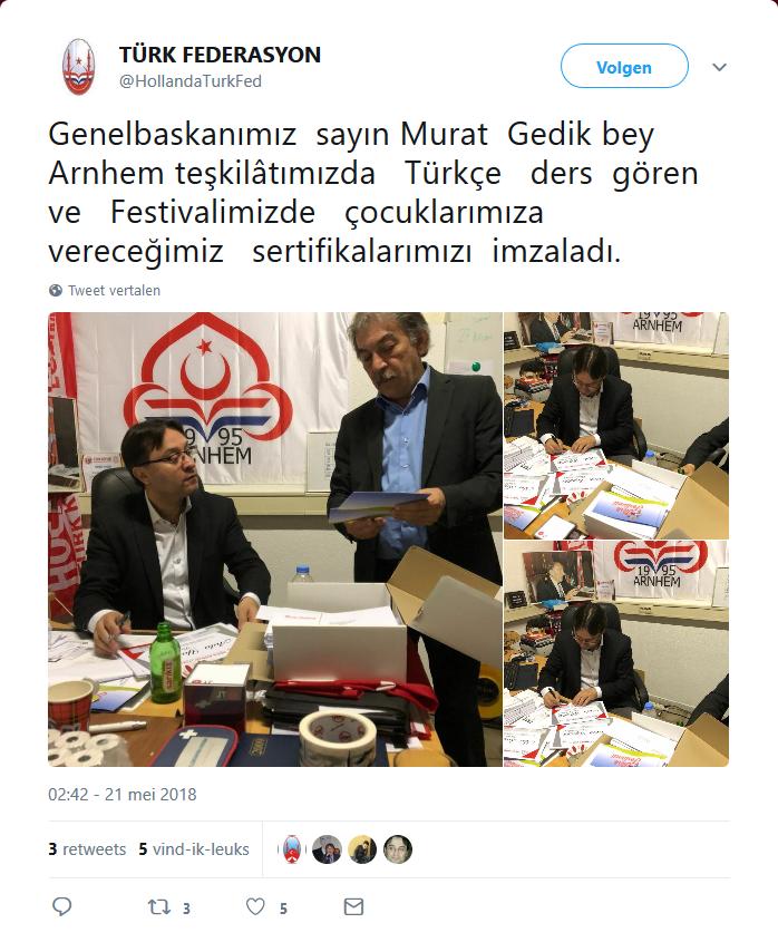 Tweet van de Turkse Federatie Nederland (TFN)