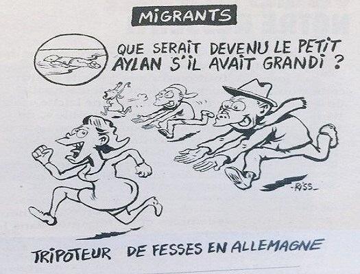 Charlie Hebdo: Het verdronken jongetje Aylan als aanrander in Keulen.