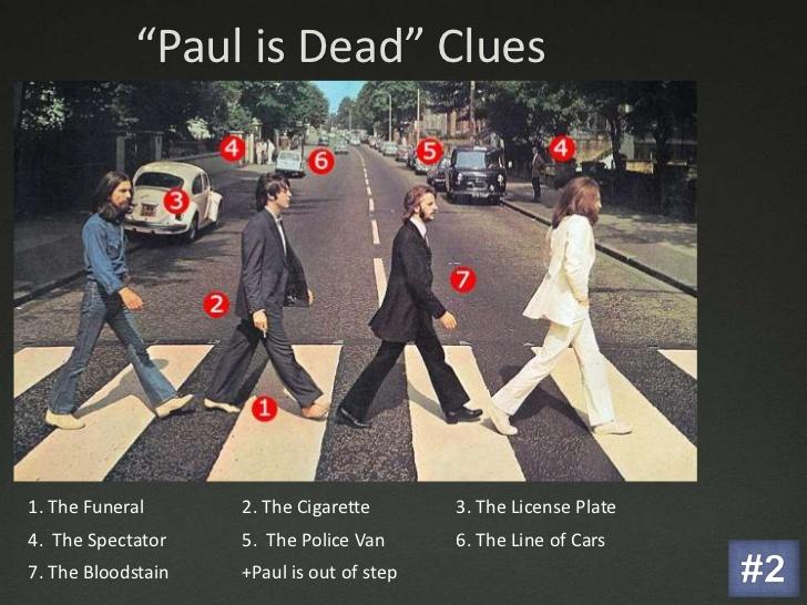 """De beroemde foto's van The Beatles die oversteken over een zebrapad met daarbij allerlei """"aanwijzigingen"""" omtrent de zogenaamde dood van Paul McCartney."""