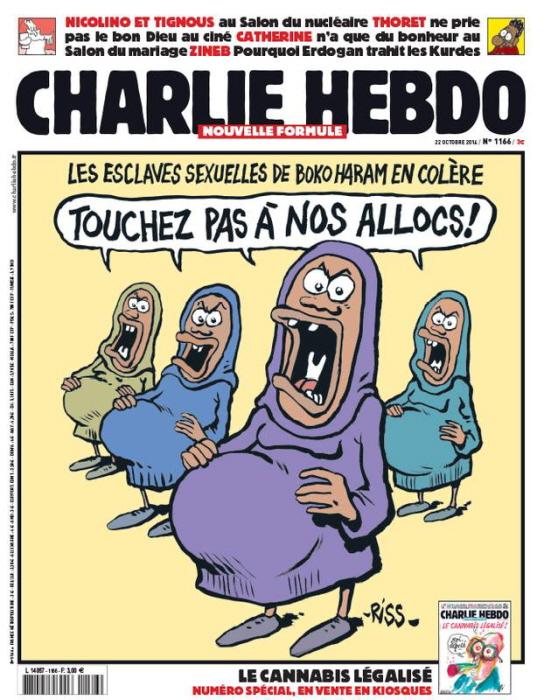 """Charlie Hebdo: Racistische 'grap' over de Boko Haram-sexslavinnen: """"Blijf van onze uitkeringen af""""."""