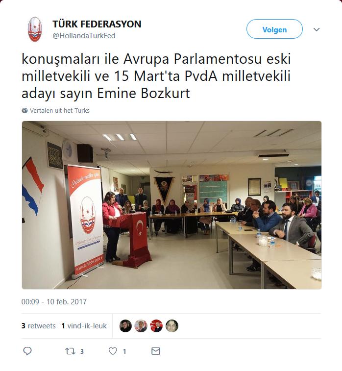 PvdA-er Emine Bozkurt bij de Grijze Wolven. (Ook Aydın Peksert, ex-NIDA en momenteel DENK, was aanwezig, vooraan in de blauwe trui.)