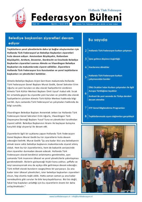 Bulletin van de Turkse Federatie Nederland, overkoepelend orgaan van de Grijze Wolven-verenigingen