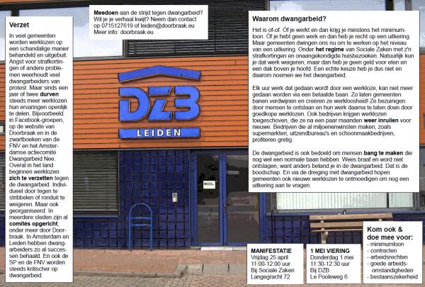 De flyer die we in Leiden uitdelen, onder meer aan werklozen en dwangarbeiders. Klik erop voor een leesbare pdf.