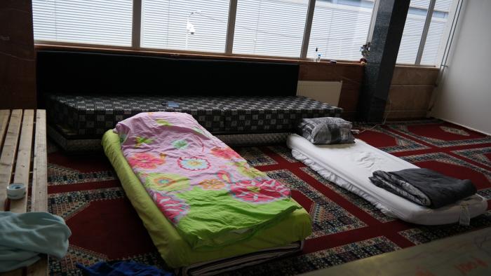 De slaapplek van de hongerstakers