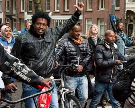 Tijdens de demonstratie.