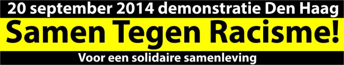 Banner van de demonstratie.