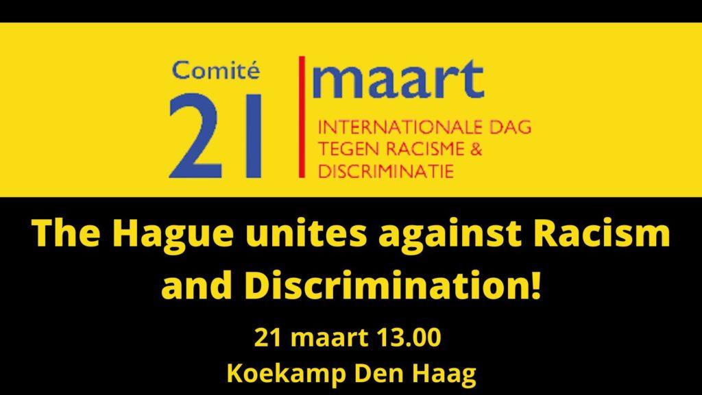 Zwarte/gele banner van het protest met praktische gegevens erop.