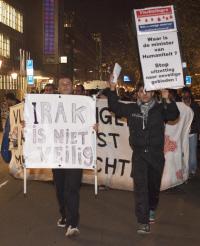 Bij een eerdere demonstratie van de vluchtelingen in Den Haag.