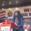 Eileen tijdens haar toespraak