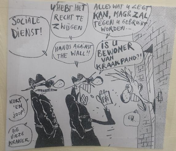 Op de expositie: een cartoon uit 1986.