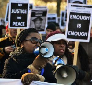 De solidariteitsdemonstratie met Ferguson op 28 december in Amsterdam.