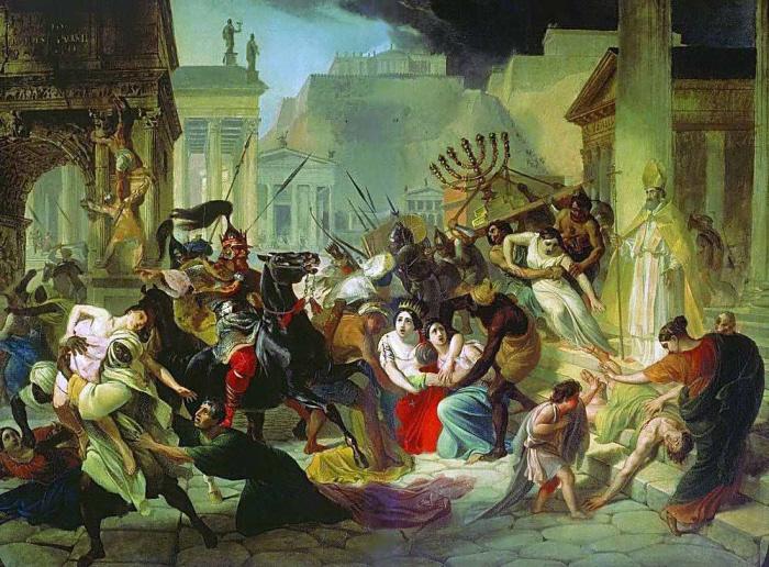 "Het schilderij van Karl Brjoellov, ""Geiserik plundert Rome""."
