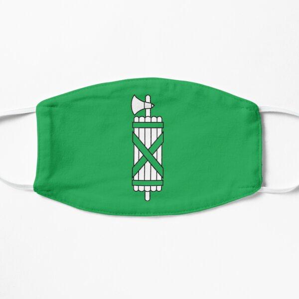 Groen mondkapje met afbeelding van een fasces.