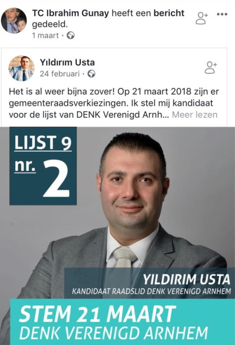 İbrahim Günay promoot Denk-raadskandiaat Yıldırım Usta op Facebook.