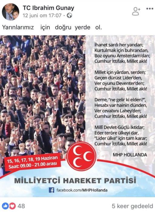 İbrahim Günay maakt op Facebook propaganda voor de Grijze Wolven-partij MHP.