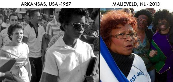 De haat is hetzelfde: jegens zwarte jongeren die voor het eerst naar een tot dan toe witte school gingen, en jegens een zwarte vrouw die afgelopen zatterdag ook tegen de VN kwam protesteren (en die niet eens tegen Zwarte Piet bleek te zijn).