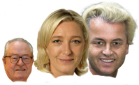Jean-Marie en Marine Le Pen met Wilders.