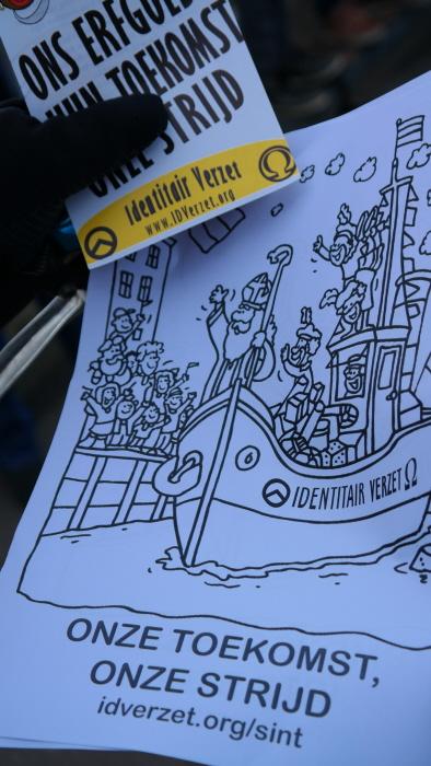 Propaganda: nationalistische kleurplaat voor kleuters. De boot op het plaatje heet Identitair Verzet.
