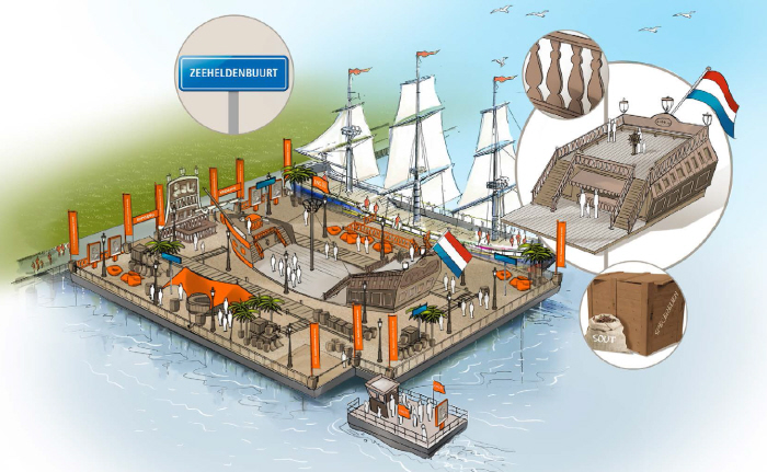 ING-eiland bij SAIL met linksboven uitvergroot het bordje Zeeheldenbuurt en rechtsonder uitvergroot de specerijen die werden buitgemaakt.