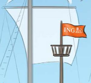ING-vlag in koloniaal propagandamateriaal.