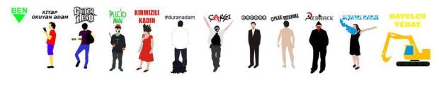 Nog meer iconen van opvallende deelnemers aan de protesten.