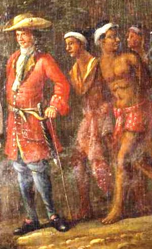 """Stukje van het schilderij """"Hollandse koopman met slaven in heuvellandschap""""."""