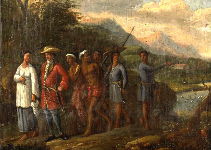 """Het schilderij """"Hollandse koopman met slaven in heuvellandschap""""."""