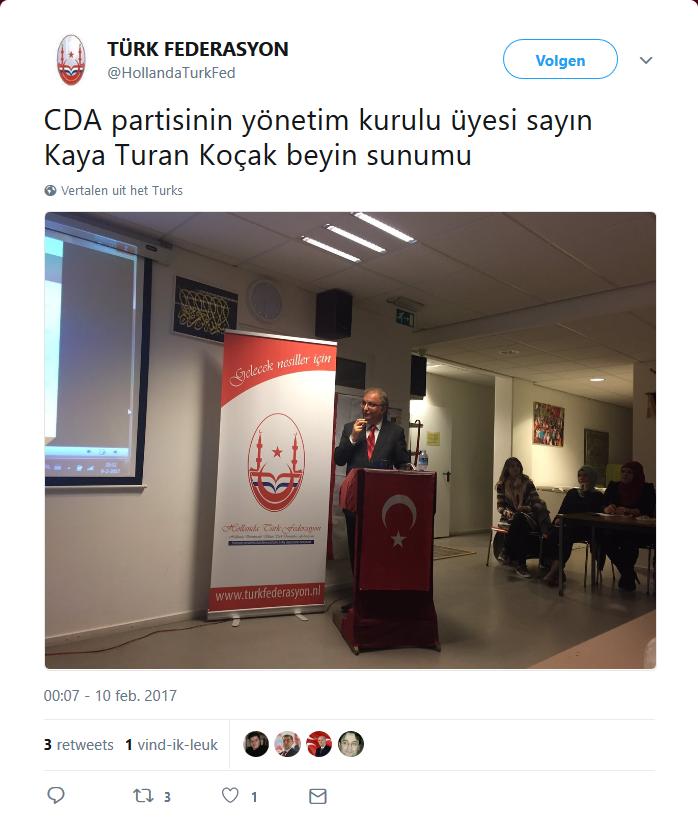 CDA-er Kaya Turan Koçak bij de Grijze Wolven.