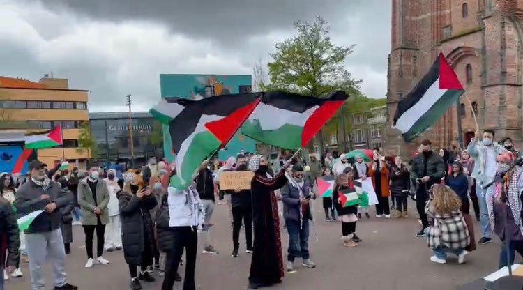 Demonstranten bij de Oldehove in Leeuwarden. Er wordt met Palestijnse vlaggen gezwaaid.