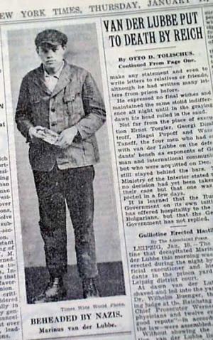 New York Times over de moord op Van der Lubbe.