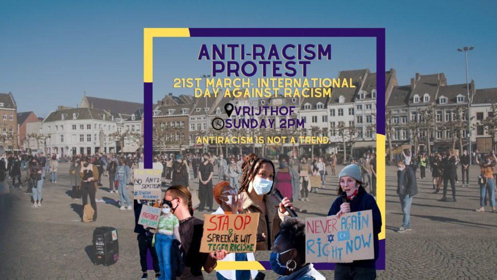 """Banner van het protest, met een foto van een eerdere demo op het Vrijhof en onder andere de tekst """"Antiracism is not a trend""""."""