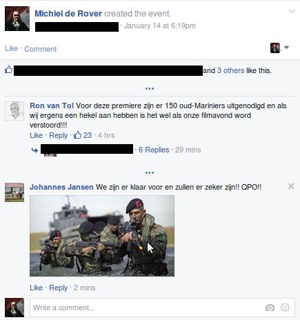 Screenshot van een van de reacties.
