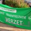 Ons spandoek bij een actie in Amsterdam tegen dwangarbeid.