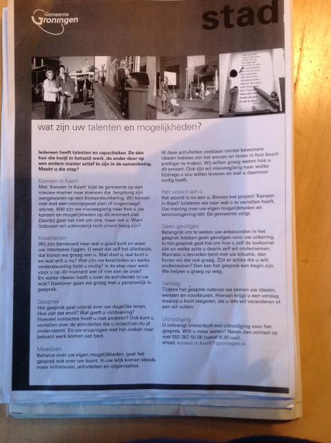 Het pakketje papier op de keukentafel. Om het inleidende A4-tje dat bovenop ligt beter te kunnen lezen (in pdf) kan je op de foto klikken.