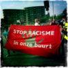 Kopspandoek op de demonstratie van augustus 2014. (foto: Sabah Boustani)