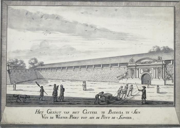 Batavia: waterpoort met slaven.