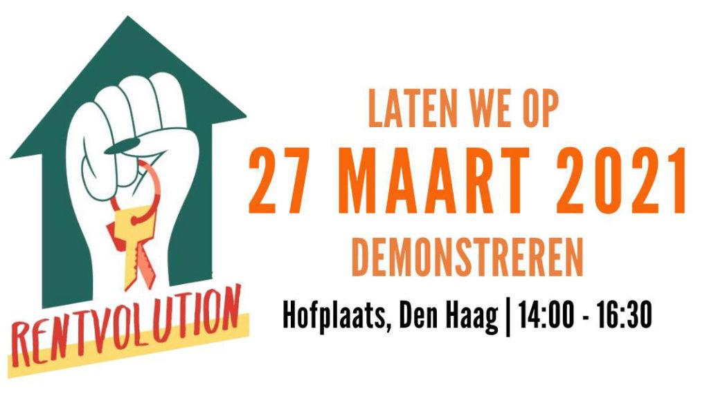 Een banner van Rentvolution die oproept om de actie op 27 maart bij te wonen. Het logo is een groen huisje met daarin een geheven vuist die een sleutelbosje vasthoudt.