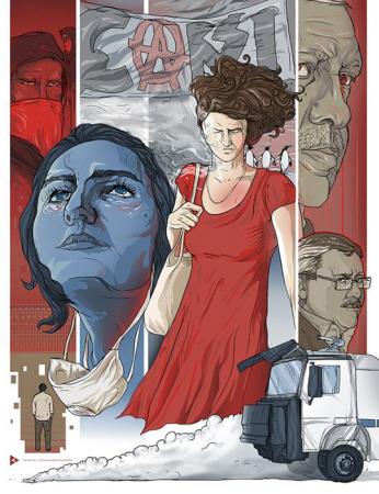 De vrouw in de rode jurk die van een agressieve agent een flinke dosis traangas kreeg toegespoten.