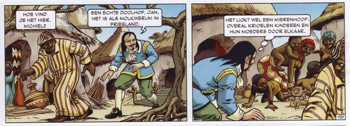 """Afrikanen """"krioelen"""". (Klik op de strip voor een wat grotere versie.)"""