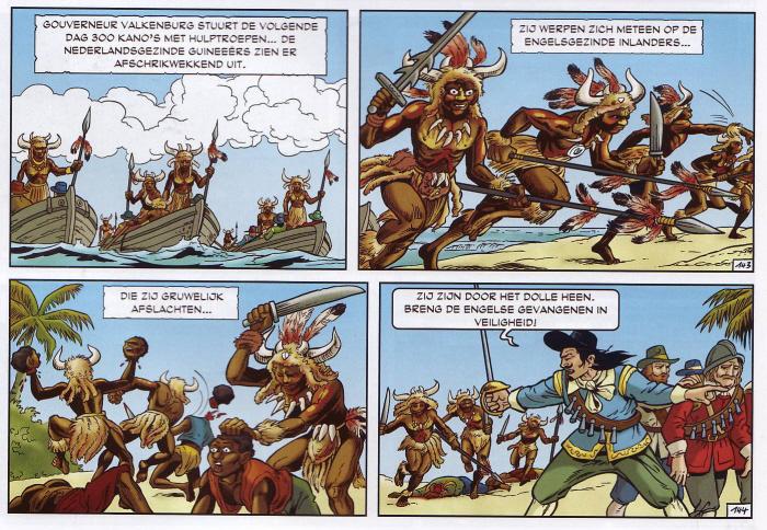 """Afrikanen zijn wreed en """"door het dolle heen"""". (Klik op de strip voor een grotere versie.)"""