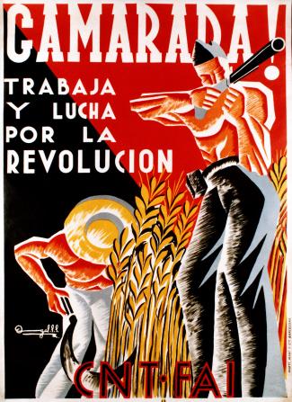 Anarchistische propaganda om arbeiders over te halen om te gaan werken of vechten.